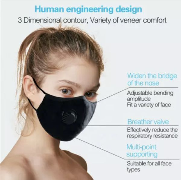 4 Pack Reusable Washable Face Mask With Air Valve + 8 PM 2.5 Carbon Filters