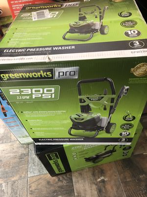 GREENWORKS 2300 PSI 2.3 GPM ELECTRIC PRESSURE WASH RETAILS FOR $299.99 for Sale in Springfield, MA