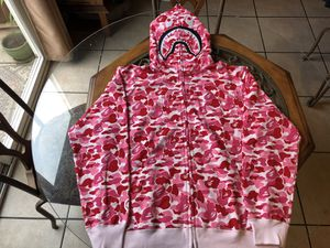 Bape Pink ABC 1st Camo Shark Hoodie Size Large for Sale in Lincoln, CA