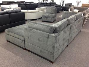 Super soft Sofa chaise set. Velveteen Grey fabric for Sale in Phoenix, AZ