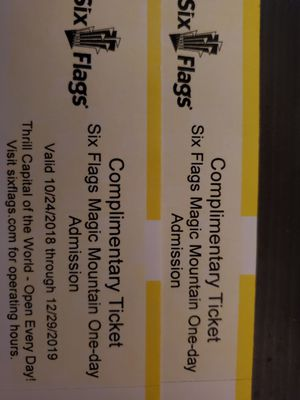 (2) Six Flags Magic Mountain tickets for Sale in Alhambra, CA