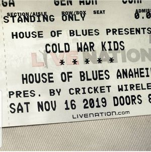 1 ticket for sale Cold war kids house of blues this Saturday for Sale in Pasadena, CA