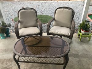 Outdoor furniture, 2 swivel chairs & glass table for Sale in Canyon Lake, CA