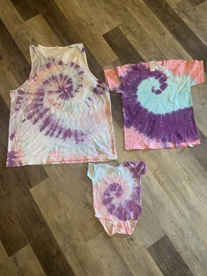 Mommy and me matching hand tie dyed spiral shirt top set adult 2XL, youth small and 9month onesie. for Sale in York, PA