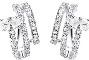 Silver Plated 3 Channels Cubic Zirconia Cuff Earrings for Sale in Rialto, CA