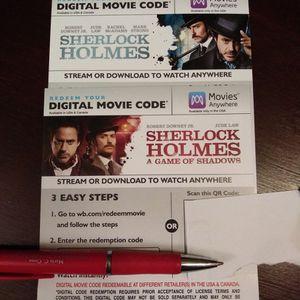Sherlock Holmes 4K Digital Movie Codes for Sale in Anaheim, CA