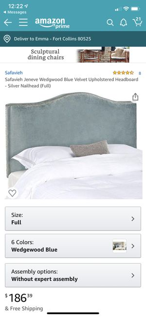 Beautiful blue velvet bed frame - full size for Sale in Fort Collins, CO