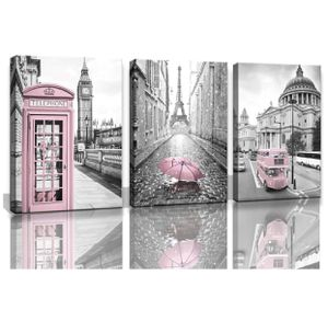 New 3-Panel Paris Eiffel Tower Canvas Prints for Bedroom for Girls Pink Room Decor Wall Art. Ready to Hang. New in Box. for Sale in Montclair, CA