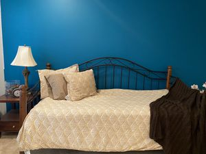 Day Bed twin size (wood and wrought iron) for Sale in Lawrence Township, NJ