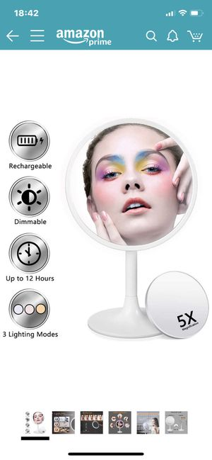Lighted Makeup Mirror, 3 Color Dimmable Vanity Mirror with 1X/5X Magnification, Rechargeable Led Cosmetics Mirror Portable with Touch Screen, 120 Deg for Sale in NO POTOMAC, MD