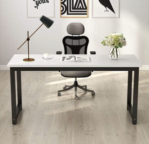 Tribesigns Computer Desk, 55 inch Large Office Desk Computer Table Study Writing Desk for Home Office, White + Black Leg for Sale in Fresno, CA