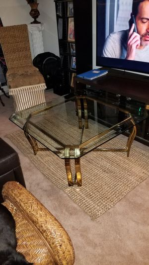 Glass and brass coffee table for Sale in NORTH PENN, PA
