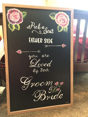 Hand painted wedding signs and wine bottle table card holders for sell and much more for Sale in Traverse City, MI