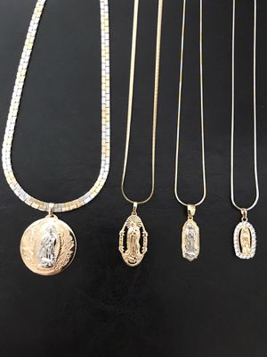 Gold plated pendant with chain (big $18 each)(small $10 each) for Sale in Philadelphia, PA