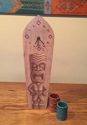 Eddyy Surfboard clock , tiki ceramic cups/2 for Sale in Seattle, WA