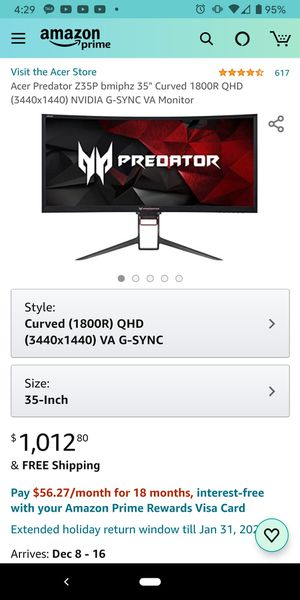 Acer Predator Z35P 35 inch Curved Ultrawide Monitor for Sale in Los Angeles, CA