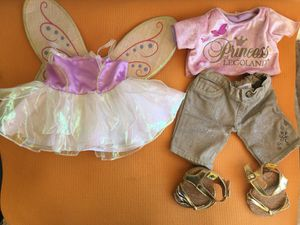 """Lot of """"Build a bear"""" brand outfits for """"Build a bear"""" stuffed animals. Total 5 outfits + shoes! for Sale in Aliso Viejo, CA"""