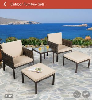 5 pcs Rattan Patio Ottoman Cushioned Garden Furniture Set Chairs for Sale in Laurel, MD