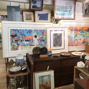 Vintage Fine Art, Art Pottery, Boho, Ethan Allen Desk, Mid Century Modern, Mirrors, Lamps for Sale in Orange, CA