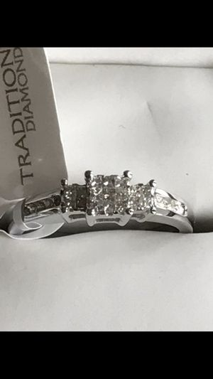 10k white gold certified diamond ring size 7 new with tags for Sale in Fulton, MD