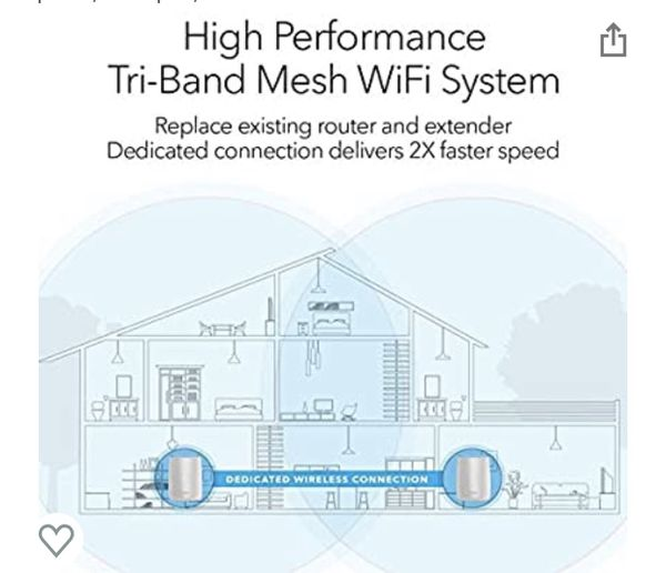 NETGEAR Orbi Tri-band Whole Home Mesh WiFi System with 3Gbps Speed Up To 5000 SqFt.