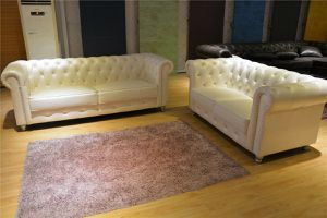 New Leather Cream Chesterfield Sofa and Loveseat Living Room Couch for Sale in Stevensville, MD