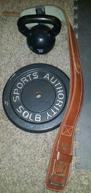 50lb weight plate, 25lb iron kettlebell, workout weight belt for Sale in Deerfield Beach, FL
