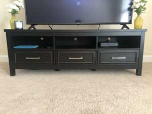 Modern TV Stand w/ 3 Drawers - Dark Charcoal Grey for Sale in Warner Robins, GA
