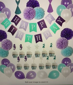 Mermaid Under the sea party supplies for Girls'Birthday, Baby shower, and Bridal shower Decorations 56pcs for Sale in Fairfax, VA