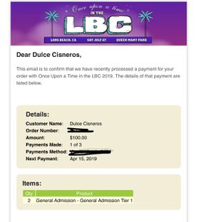 2 GA tickets to Once upon a time in the LBC for Sale in Lakewood, CA