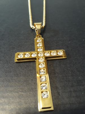 18K GOLD PLATED CZ CROSS AND CHAIN for Sale in Houston, TX