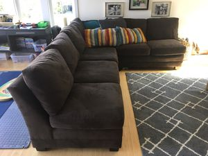 Crate & Barrel microfiber sectional couch/sofa for Sale in Seattle, WA