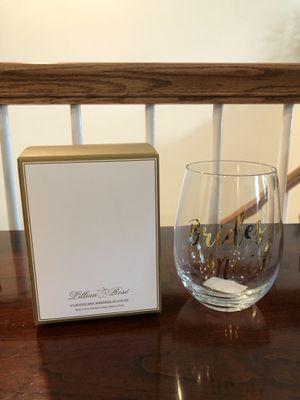 BRAND NEW BRIDESMAID GLASS WINE TUMBLER for Sale in Aldie, VA