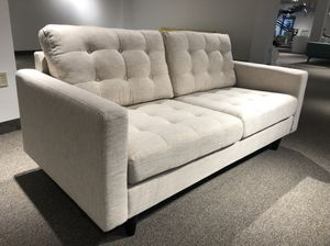 Mid century modern beige fabric upholstered loveseat couch for Sale in North Bethesda, MD