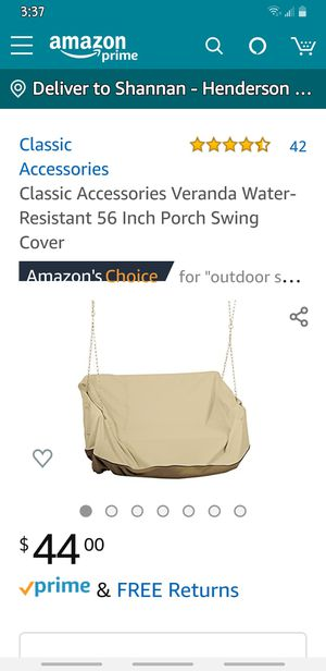 "Classic Accessories Veranda 56"" Porch Hanging Swing Cover for Sale in Henderson, NV"