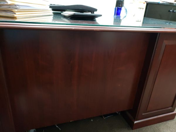 Cherry wood office desks and receptionist desks