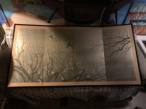 20th century Japanese screen, 4 leaves opened 69in. W for Sale in New Port Richey, FL