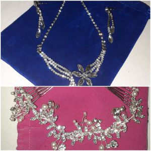 Costume jewelry necklace earrings hair accessory for Sale in Upland, CA