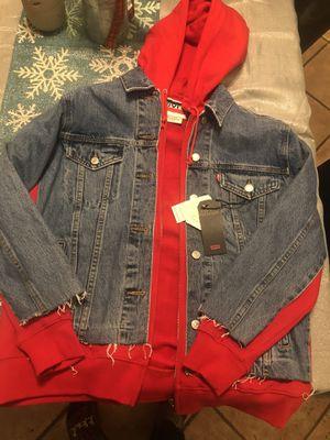 Women's Levi's Premium Denim/Red Trucker Jacket with Hoodie for Sale in Riverside, CA