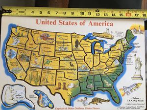 Children's Wooden Puzzle - USA State & Capital Map (Melissa & Doug) 50 Pieces for Sale in Renton, WA