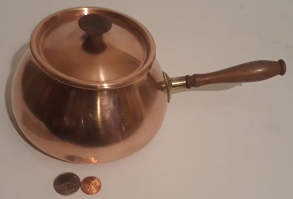 """Vintage Metal Copper and Brass Cooking Pot, Lid, Wooden Handle, Made in Portugal, 11"""" Long and 6"""" x 3 1/2"""" Pan Size, Home Decor, Shelf Display"""