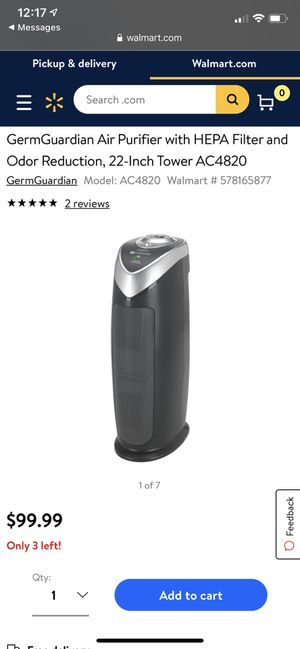 GermGardian Air Purifier with HEPA Filter and Odor Reduction, 22-inch Tower AC4820 - still in great condition! for Sale in West Windsor Township, NJ