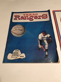 1972 & 1973 Vintage Texas Rangers Game Program and Score Card for Sale in San Angelo,  TX
