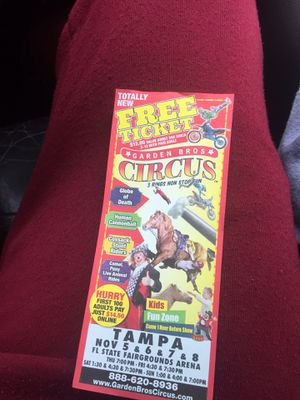 Tickets for nov circus fairgrounds for Sale in Tampa, FL