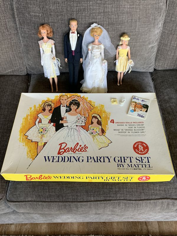 Barbie 1963 Vintage Wedding Gift Set box & dolls