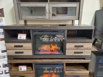 Tv Stand with Fireplace Option, Grey & Black, SKU# ASHW325-68TC for Sale in Santa Fe Springs,  CA