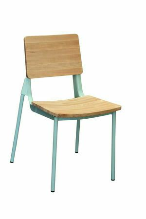 MODIST Turquoise Designer Metal Restaurant Side Chair with Wood Back and Seat. Stackable for Sale in El Monte, CA