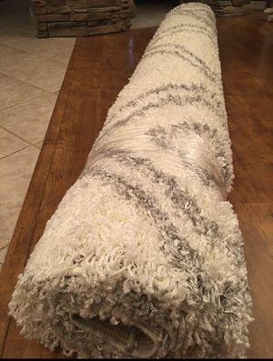 8x10 shag area rug brand new / white grey silver geometric pattern / gorgeous shag area rug for Sale in Glendale, AZ