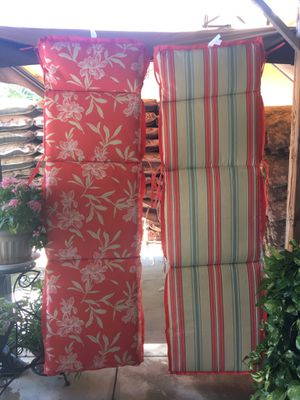 CHAISE LOUNGE CUSHIONS   Water Proof for outdoor patio chair furniture   $30 each   Price is FIRM   Salmon Stripe for Sale in Fontana, CA