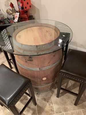 Wine barrel table and 4 leather stools for Sale in Manhasset, NY